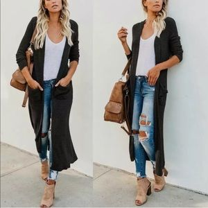 Jackets & Blazers - Black Cardigan long duster knit with pockets